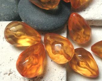 Vintage 20x14mm Transparent Orange Lucite Baroque Teardrop Beads.  10 pcs.