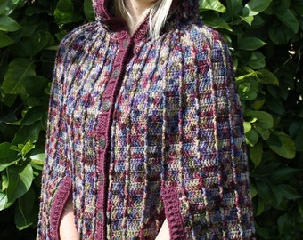 Crochet Pattern for a ridged hooded cape.