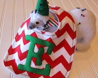 Chevron Bib Monogrammed, Personalized Christmas Bib, Chevron Stripe Bib, Minky Bib, Custom Bib, Monogrammed Bib for Christmas