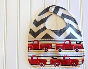 Grey Chevron Truck Bib, Red Truck Baby Bib, Chevron Baby Bib