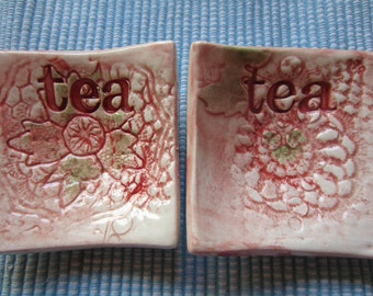 Two Green and Red Vintage Lace Tea Bag Holders