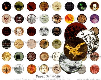 Gothic Edgar Allan Poe Printable Bottle Cap Charms, Magnets, Jewelry, Scrapbooking