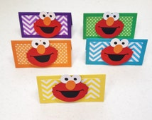 12 elmo inspired treat bag toppers birthday party baby shower elmo