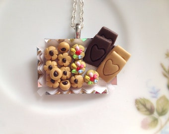 Miniature Cookie Tray Necklace. Polymer Clay Jewelry. Miniature Food. Dessert. Cookie. Heart. Cute. Kawaii. Colorful Kitsch. Holiday. Silver