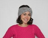 Grey Chunky Knit Headwrap