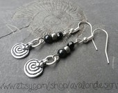 Rustic spiral amulet charm earrings  with black and dark silver beads. Fibonacci nickel-free Bohemian hippie pagan Pixie nature boho