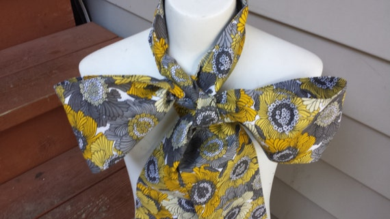 Upcycled Steampunk Clothing, White Rabbit Bow Tie - Alice in Wonderland (Grey and Yellow Cotton Print) Neck Tie, Handmade Costume Accessory