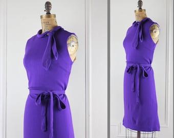 vintage 1960s Royal Purple Belted Shift Sheath Dress, with sassy stewardess ascot - size medium to large