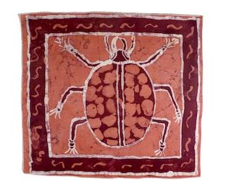 Batik Wax Print BEETLE - African Wallhanging - Supporting Deaf in Ghana