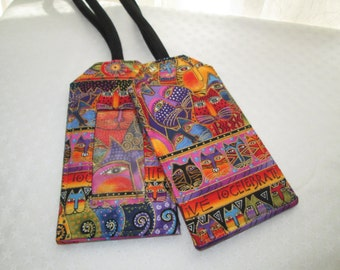 Custom Luggage Tag Laurel Burch Cats Designer Fabric Cats Rare Out of Print Travel Cruise Accessory Kids ID Backpack Gift Card Holder
