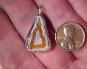 Lake Superior Agate Pendant - Free Form, Silver Alloy Bezel  *1000011