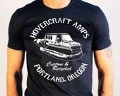 Hovercraft Amps - boogie disco surfer van biker style guitar amp tshirt