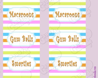 Printable Candy Buffet Labels - First Love Collection - Stripes