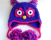 Crochet Owl Earflap Hat for Baby 3 to 6 Months