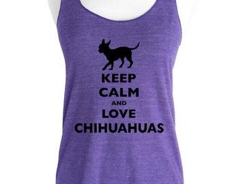 Keep Calm and Love Chihuahuas Soft Tri-Blend Racerback Tank