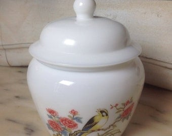 Vintage Avon Milk Glass Ginger Jar Painted