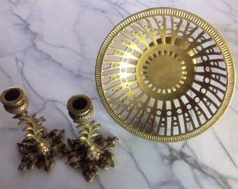 Brass Pedestal Accent Dish with Taper Candleholders