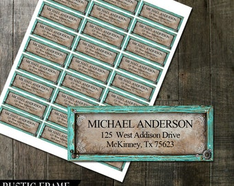 Rustic Turquoise Frame Address Labels | DIY Avery Labels | Country Rustic Wedding Return Address Labels