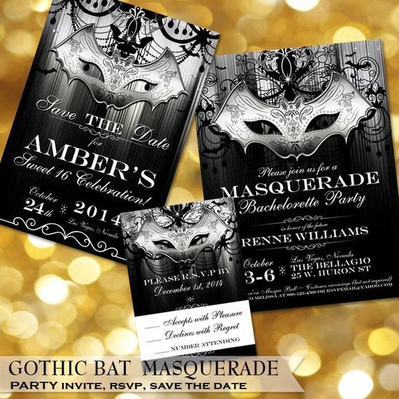 Halloween Bachelorette Party Gothic Invitation Bat
