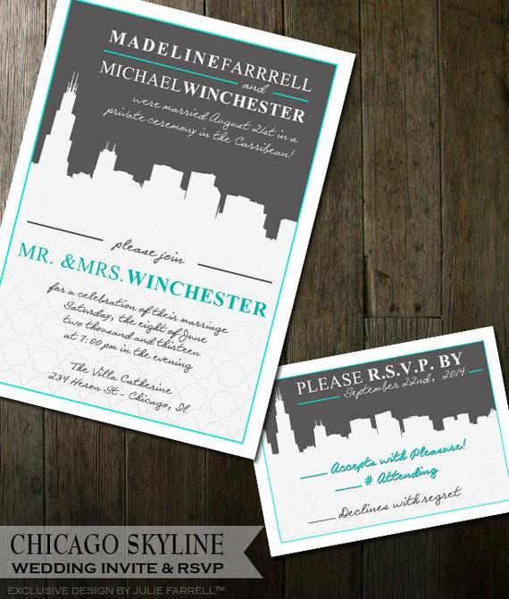 wedding invitation cityscape wedding invitation chicago wedding