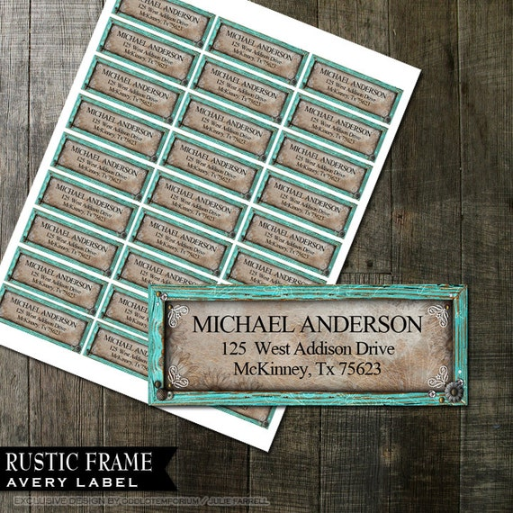 Rustic turquoise frame address labels diy avery labels for printing il570xn solutioingenieria Images