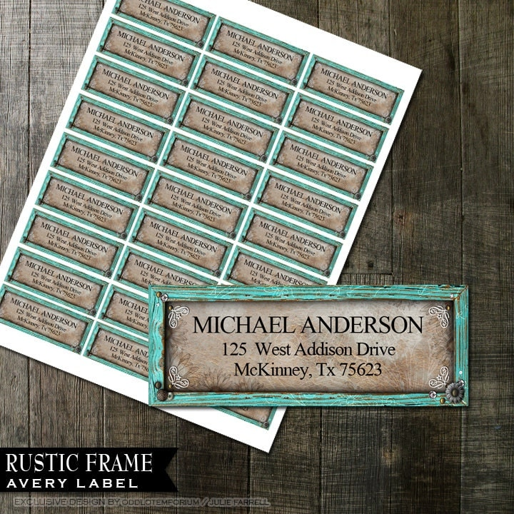 rustic turquoise frame address labels diy avery labels for