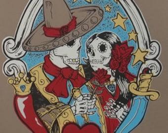 Poster Passion limited edition screenprint, teschi, mexican, day of the dead, dias de los muertos, mexican art, sugar skull
