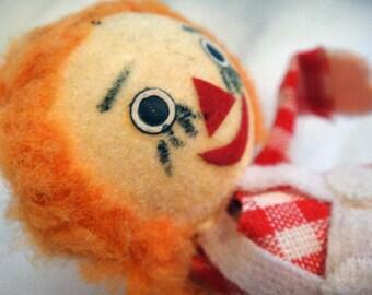 Vintage Decoration Raggedy Ann Miniature Doll Figure w/ Metal Pick_Craft Supplies