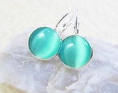 Drop Earrings - Round Aqua Blue Cat's Eye Glass Cabochon - Silver Plated Brass Bezel, Lever Back Hooks (C-4)