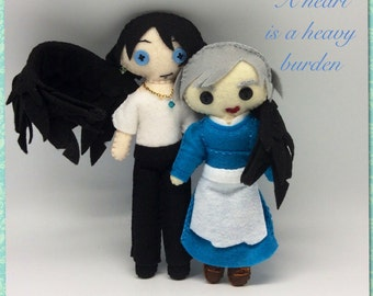 Howl's Moving Castle Felt Dolls, Howl and Sophie inspired felt doll soft sculpture, collection figurine in felt