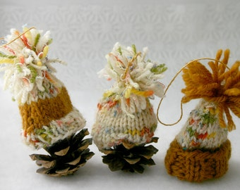 Miniature Knit Hats- Set of 3- Hand Knitted Mini Caps- Miniatures- Doll, Pet- Miniature Beanies -Pom Poms