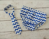 Baby Boy Tie and Diaper cover SET - Royal Blue Chevron