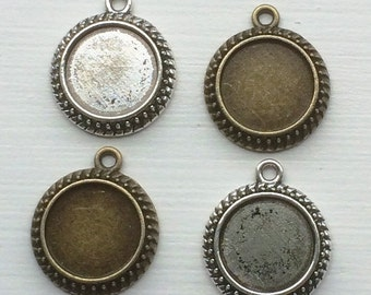 COMBO - 20 pcs  - 14 mm Round tray with Glass cabochon - Pendant Blank, Pendant tray for photo charm pendants.