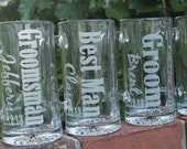 8 Personalized Groomsman Gift, Etched Beer Mug.  Great Bachelor Party Idea,Groomsmen,Best Man,Father of Bride or Groom Gift