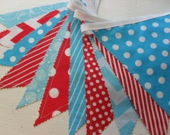Cat Hat Banner, Dr. Suess Banner, Fabric Banner, Nursery Decor, Wedding, Aqua Blue, Red, Dots, Chevrons, Stripes, Ready to Ship!