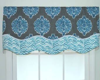 Medallion Shaped layered valance with trim in blue
