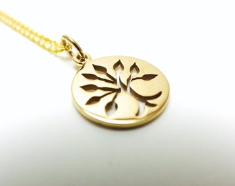 Round Tree-of-Life Necklace - Natural Bronze with 14k Goldfilled Chain