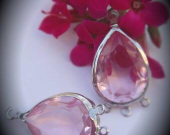 Genuine Silver Plated Swarovski Crystal Chandelier Earrings Teardrop Light Rose