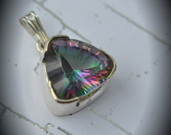 Genuine Solid Sterling Silver Faceted Mystic Quartz Pendant