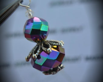 Hand Wire Wrapped Swarovski Crystals Dangle Charm on Silver Plated Headpin And Iris Glass Beads