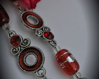 8 Inch Silver Plated Chain With Red Crystals And Enamel