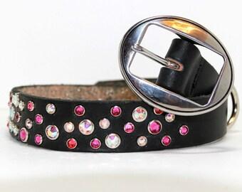 Pink and Black Leather Dog Collar with Swarovski Crystals Pink Rainbow Custom