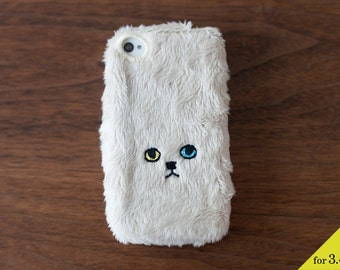 Cat iPhone Cover for iPhone3 / 4 / 4s [soft type] Beige