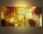 """Landscape Painting Blooming Trees Painting Original Palette Knife Painting 60"""" x 30"""" by Osnat - MADE-TO-ORDER"""