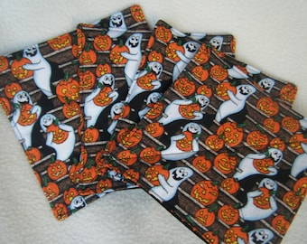 Cute Halloween Ghost Print Quilted Coasters/Mug Rugs - Set of 4