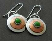 Mixed metal jewelry- metal earrings discs that dangle with turquoise