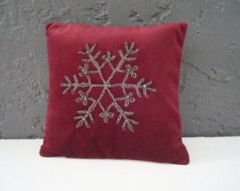 "Snowflake Crocheted Wire Oxidized Fine Silver Pure Silver Swarovski Crystals 8"" Boudoir Pillow Burgundy Velvet Elegantly Opulent  Accessory"