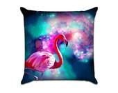 Outer Space Single Flamingo - Original Graphic Sofa Throw Pillow