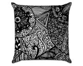 """Zentangle - Original Pattern Sofa Throw Pillow Envelope Cover for 18"""" inserts"""