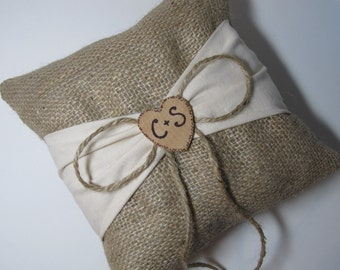 Personalized Rustic Ring Bearer Pillow - Burlap With Ivory Sash